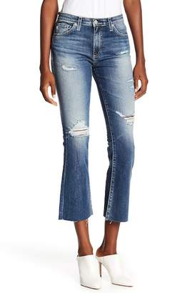 AG Jeans High-Rise Raw Hem Cropped Flare Leg Jeans