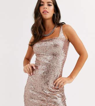 Club L London Tall sequin square neck mini dress in rose gold