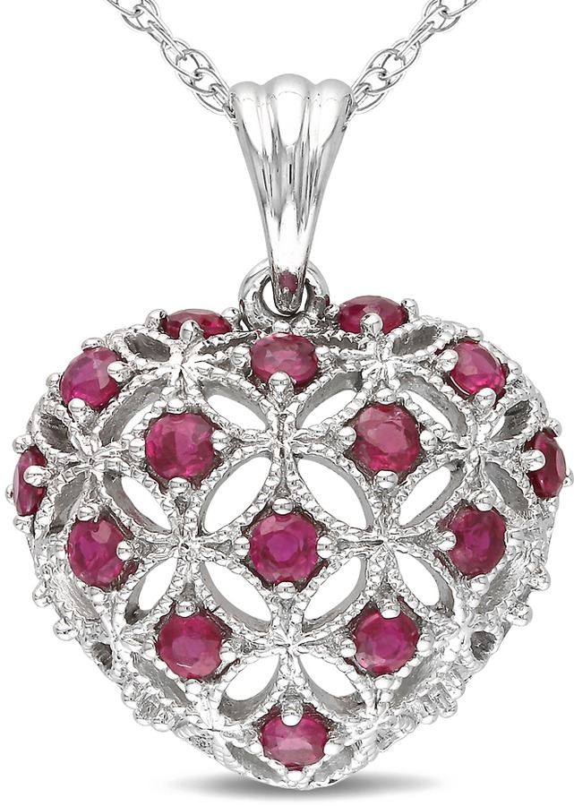 Ice.com 1/2 Carat Ruby 10K White Gold Heart Shaped Pendant w/Chain