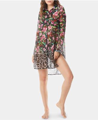 Carmen Marc Valvo Printed Dress-Shirt Cover-Up Women's Swimsuit