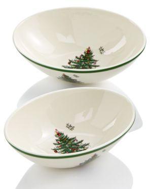 Spode Christmas Tree Set/2 Oval Nesting Bowls