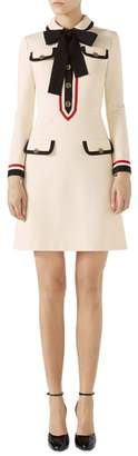 Gucci Bow Neck Piped Jersey Dress