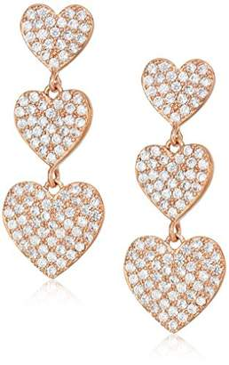 Kate Spade Pave Heart Triple Rose Gold Drop Earrings