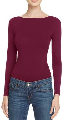 French Connection Womens Open Back Long Sleeves Bodysuit Red L