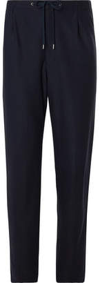 Navy Twill Drawstring Suit Trousers