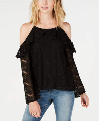Ultra Flirt by Ikeddi Juniors' Lace Cold-Shoulder Top