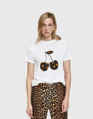 Ganni Harway Tee With Cherry in White