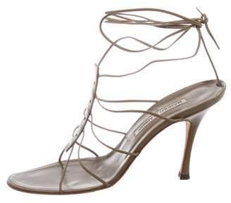 Manolo Blahnik Lace-Up Leather Sandals