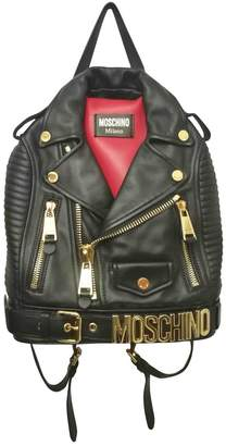 37a722be91 Moschino Biker Black Leather Backpacks