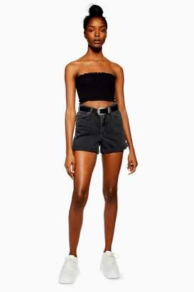 Topshop Womens Roll Hem Denim Mom Shorts - Washed Black