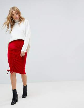 Miss Selfridge Ruched Velvet Midi Skirt