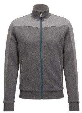 HUGO BOSS Cotton Blend Full-Zip Jacket Skaz L Grey