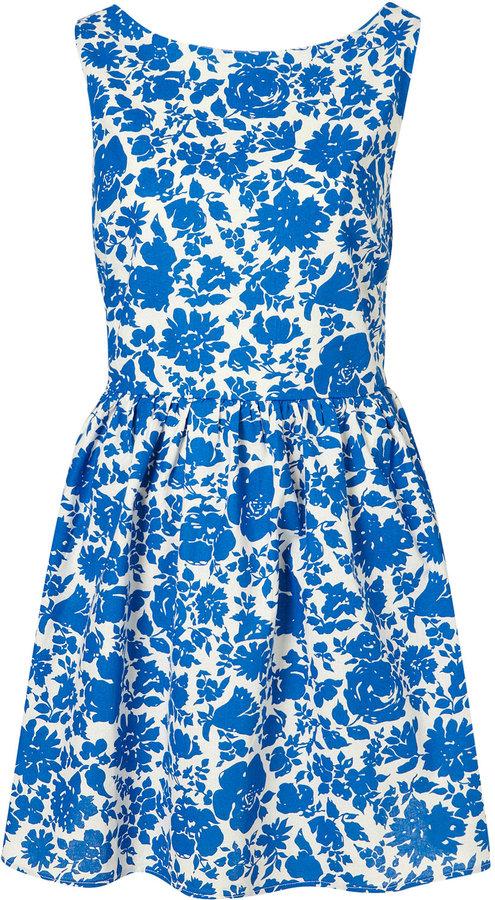 Topshop China Floral Lattice Back Dress