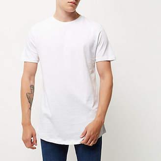 River Island White curved hem longline T-shirt