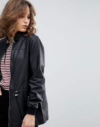 Selected Leather Jacket With Toggles