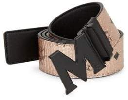 MCM Men's Visetos Reversible Matte Buckle Belt - Champagne