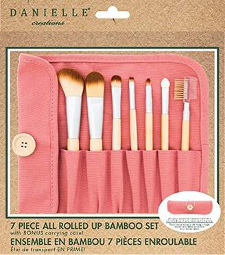 Danielle Creations Natural Bamboo 7-Piece Brush Set with Roll Up Canvas Case