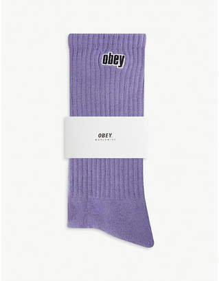 Obey Brand embroidered cotton-blend crew socks