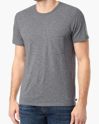 7 For All Mankind Short Sleeve Raw Pocket Crew Tee in Heather Grey