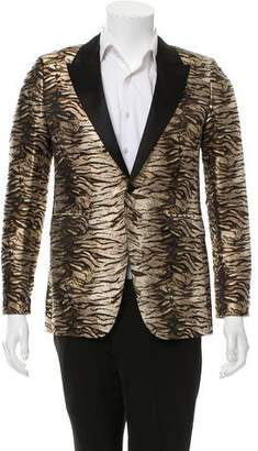 Saint Laurent Animal Print Peaked-Lapel Blazer w/ Tags
