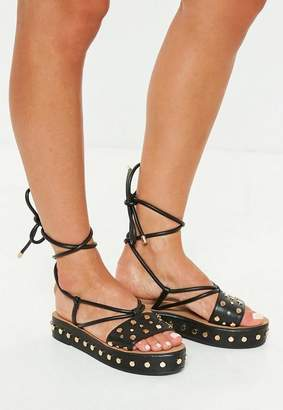 Missguided Black Flatform Studded Ankle Tie Sandals