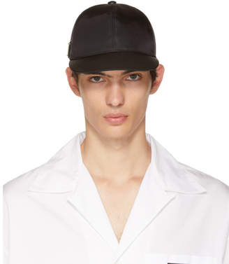 Prada Black Triangle Logo Cap