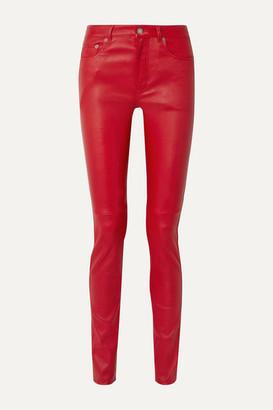Saint Laurent Leather Skinny Pants - Red