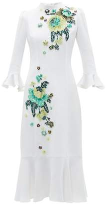 Andrew Gn Floral Embellished Crepe Dress - Womens - White Multi
