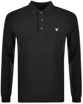 Lyle & Scott Long Sleeved Polo T Shirt Black