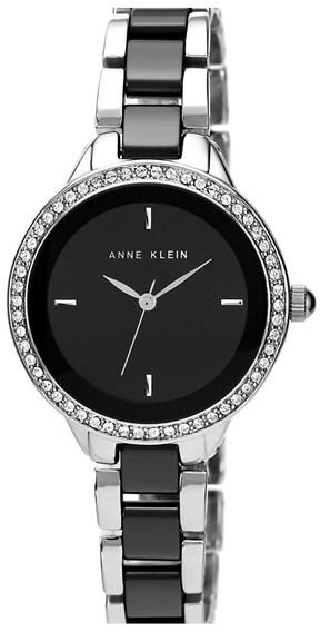 Anne Klein Crystal Bezel Ceramic Link Bracelet Watch, 34mm