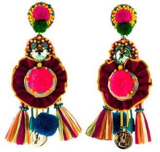 Ranjana Khan Multicolor Pom Pom Tassel Coin Drop Earrings