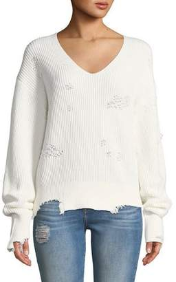 Helmut Lang Distressed Long-Sleeve V-Neck Sweater