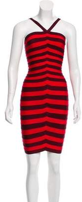 Herve Leger Sleeveless Striped Dress
