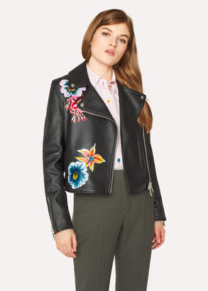 Paul Smith Women's Black Leather Jacket With Painted 'Ocean' Detail