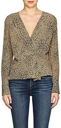 Rag & Bone Women's Leopard-Print Silk Blouse - Dk. Green
