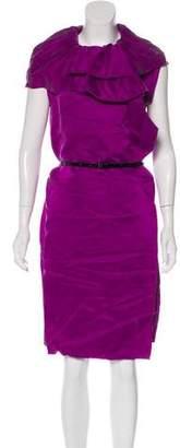 Lanvin Ruffle-Accented Silk Dress w/ Tags