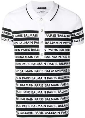 Balmain striped polo shirt