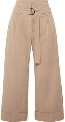Brunello Cucinelli Cropped Stretch-cotton Poplin Wide-leg Pants - Mushroom