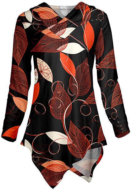 Black & Orange Stripe Leaf Asymmetrical Hoodie - Women & Plus