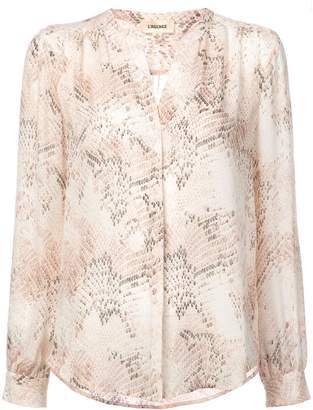 L'Agence snake print collarless blouse