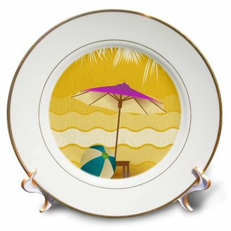 3dRose Purple Umbrella Beach Scene - Porcelain Plate, 8-inch