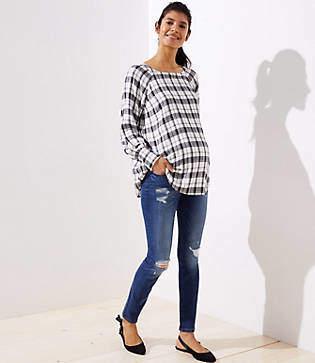 LOFT Petite Maternity Destructed Skinny Jeans in Mid Indigo Wash