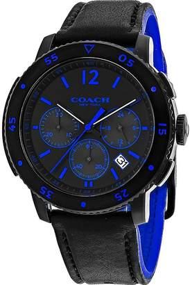 Coach Men's 44mm Two Tone Leather Band Ip Steel Case Quartz Watch 14602023