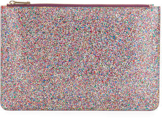 Edie Parker Glittered Zip-Top Pouch Bag