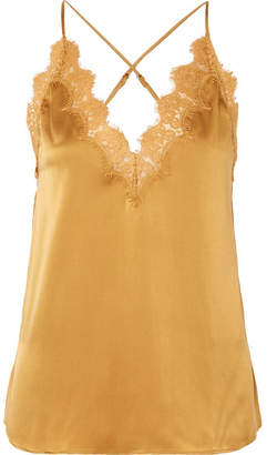 CAMI NYC The Everly Lace-trimmed Silk-charmeuse Camisole - Gold