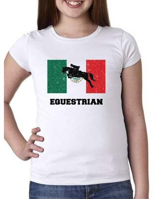 Hollywood Thread Mexico Olympic - Equestrian - Flag - Silhouette Girl's Cotton Youth T-Shirt