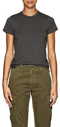 "ATM Anthony Thomas Melillo Women's ""Schoolboy"" Metallic-Striped Pima Cotton-Blend T-Shirt - Gray"