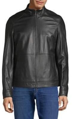 Michael Kors Leather Nappa Racer Jacket