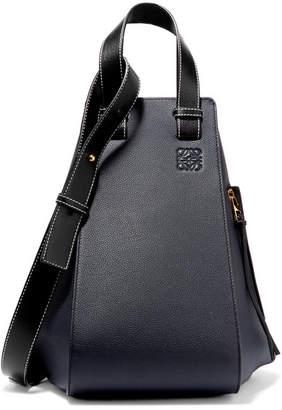 Loewe Hammock Textured-leather Shoulder Bag - Midnight blue