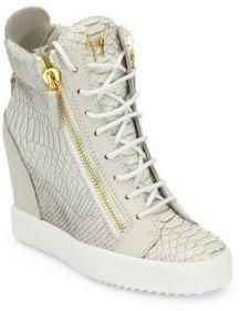 Giuseppe Zanotti Lamaylorenz Leather Wedge Sneakers $895 thestylecure.com